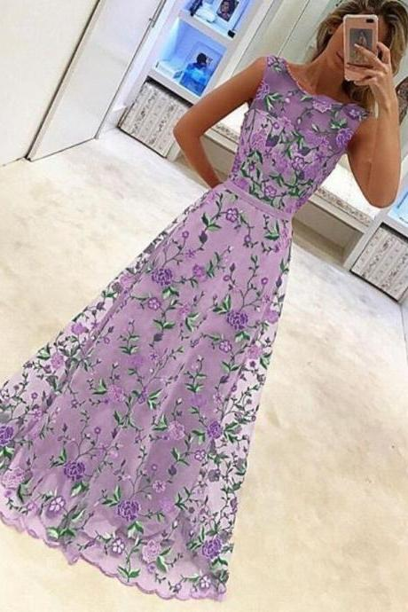 Purple Luxurious Embroidery Maxi Dress