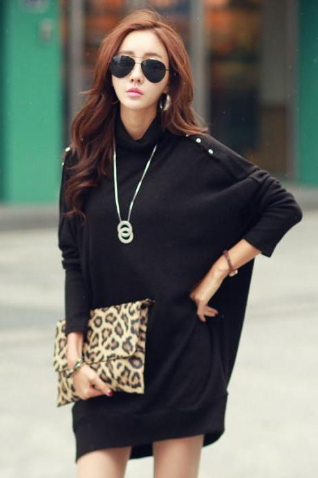 Fashion Bat-wing Sleeve Sweater - Black