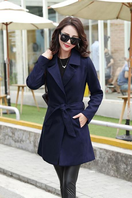 New Design Cashmere Fashion Coat For Woman - Navy