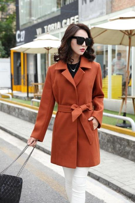 New Design Cashmere Fashion Coat For Woman - Dark Camel