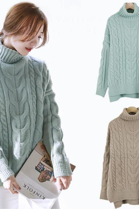 Cable Knit Turtleneck Long Cuffed Sleeves Sweater Featuring Slits