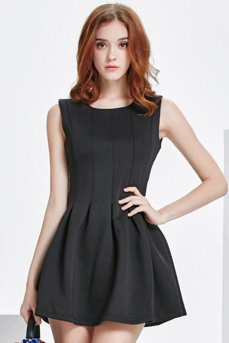 Fashion Black Sleeveless A Line Dress