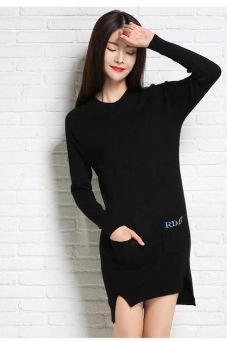 High Quality Fashion And Elegant Round Neck Woman Dress With Pockets - Black