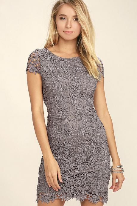 High Quality Hollow Lace Backless Dress - Purple