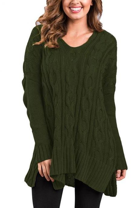New Design Fashion V Neck High Low Pullover Sweater For Women AM114 - Arm Green