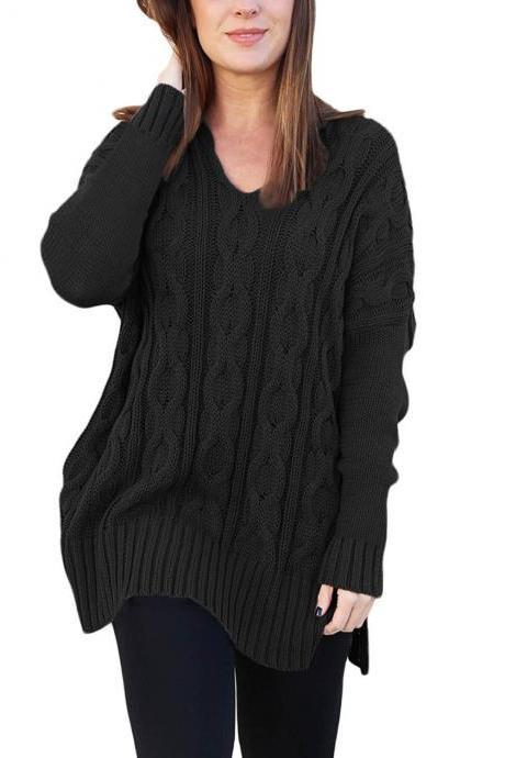 New Design Fashion V Neck High Low Pullover Sweater For Women AM114 - Black