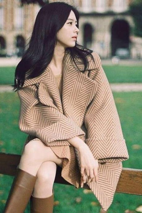 High Quality New Design Beige Double Breasted Wool Winter Coat For Women