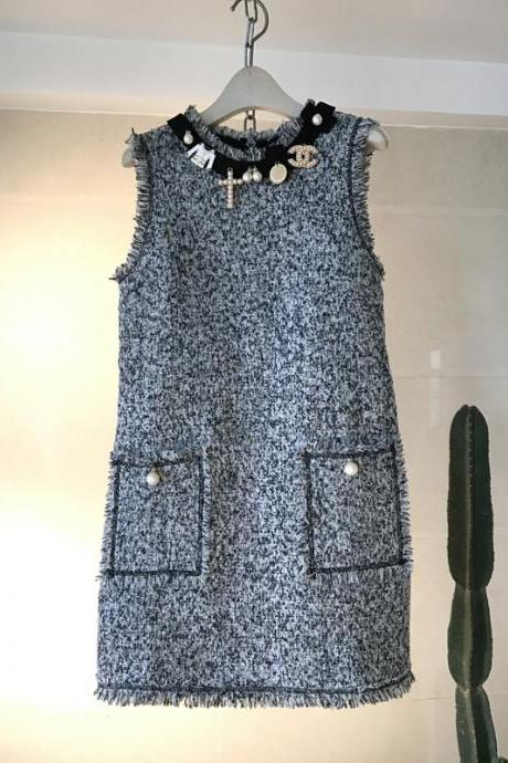 Designer Sleeveless Dress For Autumn&Winter 8089A - Grey