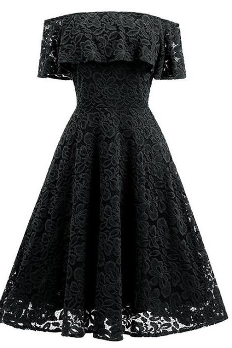 High Quality Sexy Sweet Off Shoulder Evening Party Long Lace Dress CHD025 - Black