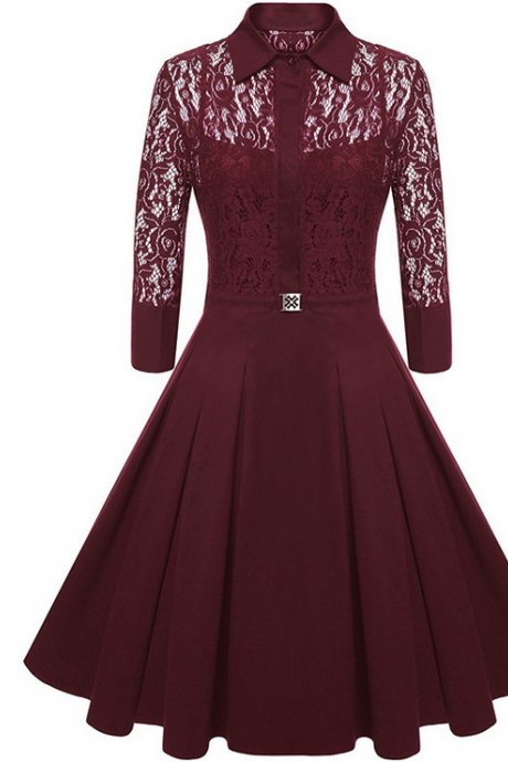 Elegant Lace Career Work Dress Shirt Dress - Wine Red