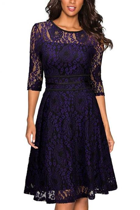 Good Quality Elegant Splice lace Dress - Navy Blue