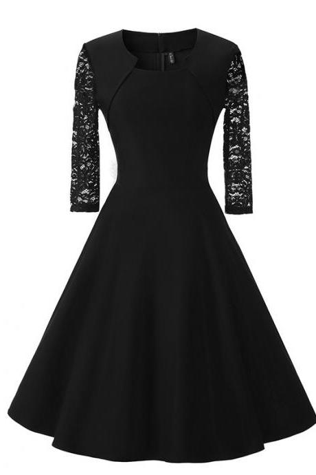 Hot Sale High Quality Three Quarter Sleeve Splice lace Dress - Black