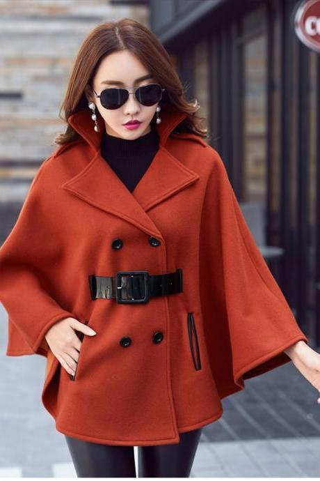 Designer Good Quality Double Breasted Cloak Wool Winter Coats With Belt - Caramel Color