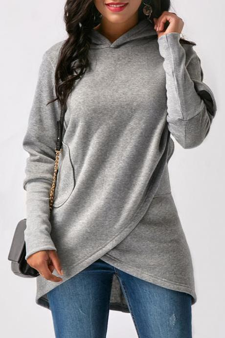 Fashion Asymmetric Hem Long Sleeve Solid Grey Hoodie
