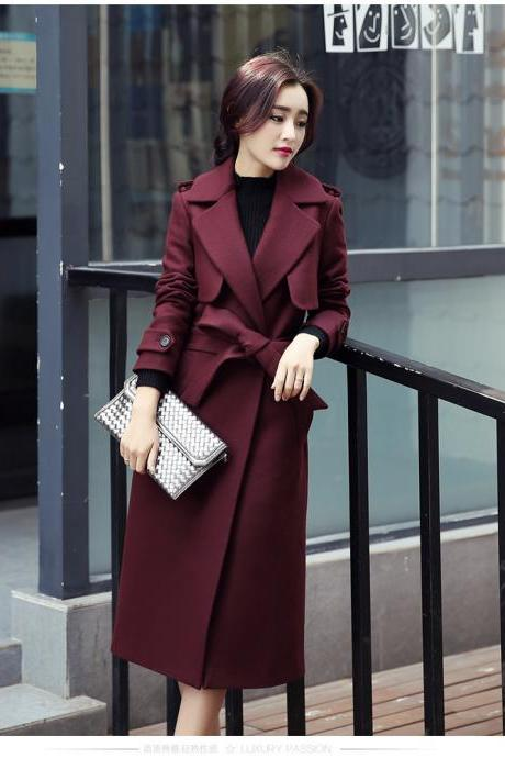 Designer Fashion Long Style Wool Winter Coat - Wine Red