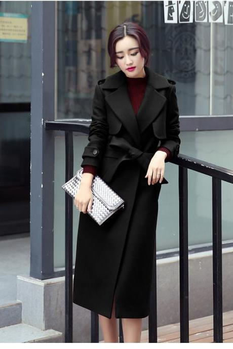 Designer Fashion Long Style Wool Winter Coat - Black