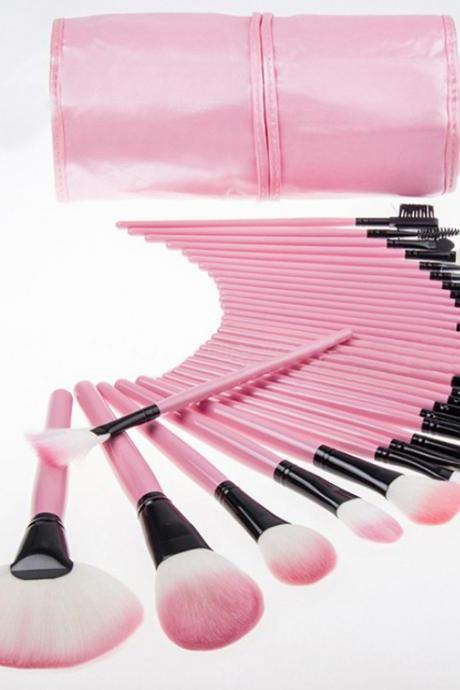 Free Shipping 32pcs Pink Eyeshadow Eyebrow Blush Makeup Brushes Cosmetic Set