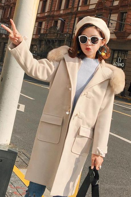 High Quality Hooded Designer Beige Wool Winter Coat