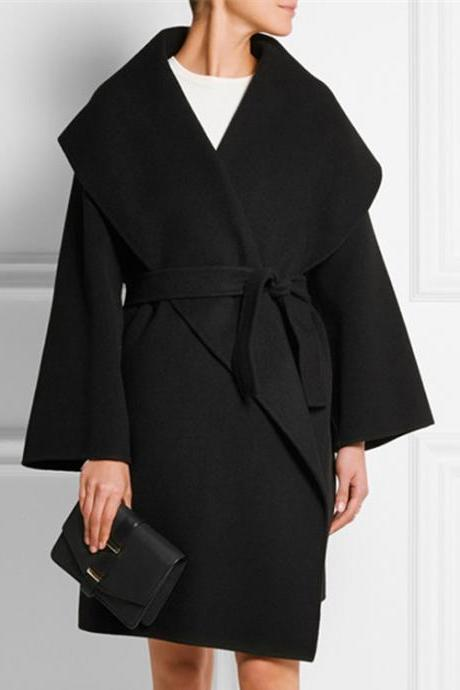 High Quality Cool Loose Turndown Collar Black Cashmere Winter Coat