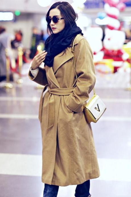 Designer Light Tan Turndown Collar Cashmere Winter Coat With Belt