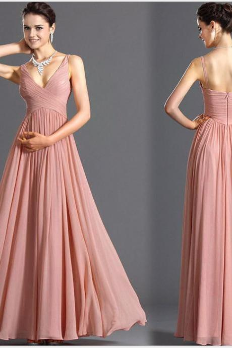 Chiffon Pink V Neck Backless Maxi Evening Dress