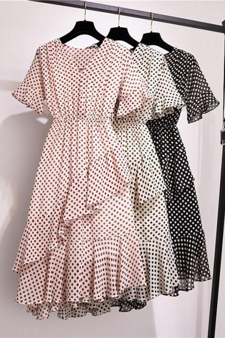 Charming V Neck Short Sleeve Polka Dot Print Dress