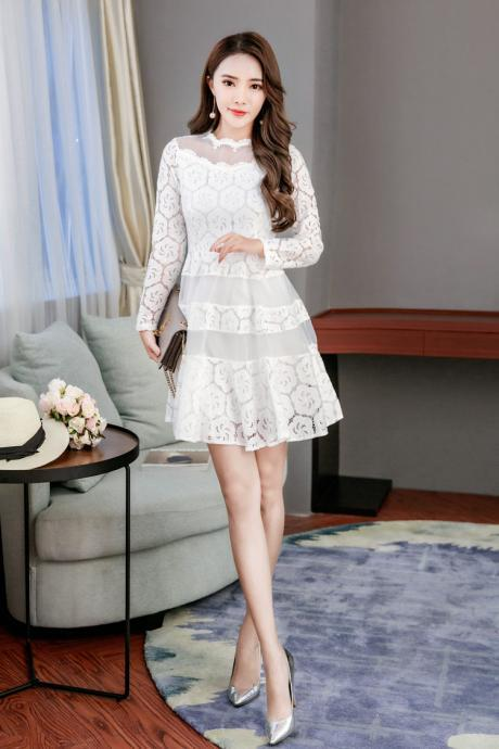 Free shipping Good Quality Long Sleeve Lace A Line Mini Dress - White