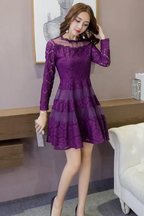 Free shipping Good Quality Long Sleeve Lace A Line Mini Dress - Purple