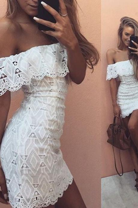 Sexy Off Shoulder White Lace Dress E-80712