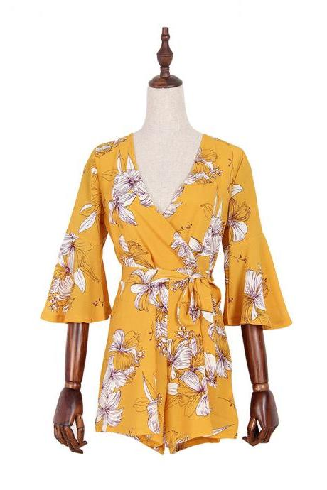Free shipping Yellow Floral Print Rompers With Belt