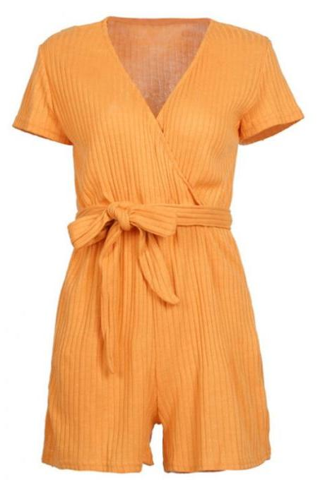 Mustard Yellow Ribbed Plunge V Short Sleeves Romper Featuring Bow Accent Belt