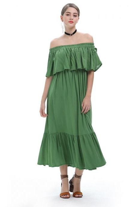Green Off Shoulder Chiffon Maxi Dress