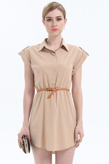 Fashion Turn Down Collar Short Sleeve Dress - Khaki