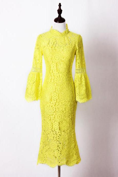 High Quality Yellow Floral Lace Stitching Pagoda Sleeve Dress