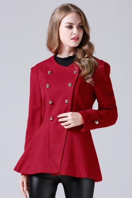 High Quality Red Double Breasted Wool Winter Coat