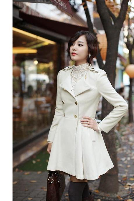 High Quality Double Breasted Wool Winter Coat - White