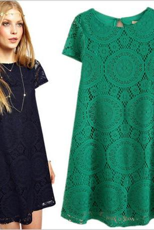 Short Sleeve Lace A-Line Dress