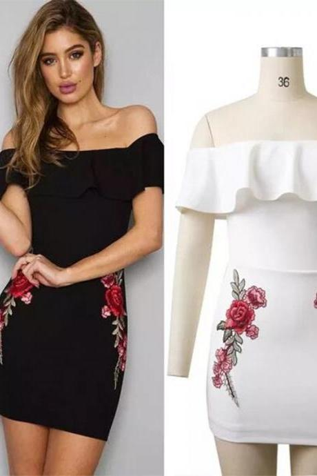 Fashion Embroidery Floral Print Off Shoulder Dress (2 Colors)