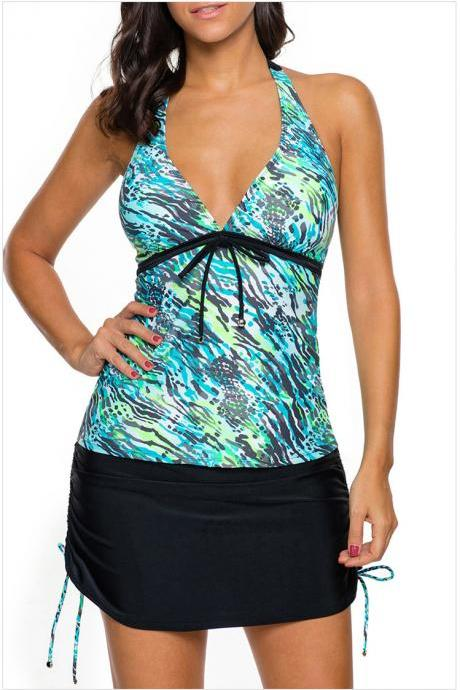 New Halter V Neck Printed Top and Skirt Swimwear - Green