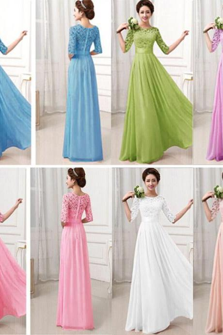 Charming Pierced Sleeve Lace Zipper Closure Maxi Dress (6 Colors)