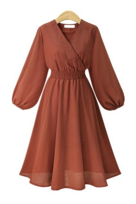 Orange V-Neck Chiffon Short Vintage Dress with Long Sleeves