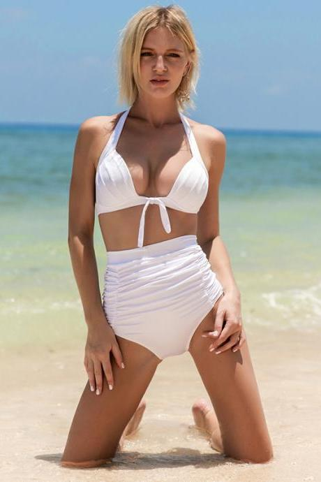 Sexy High Waist Bikini With Good Elasticity - White