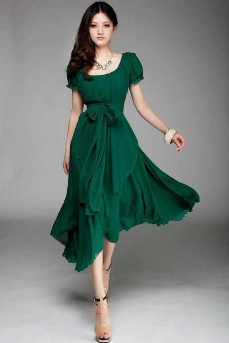 Free Shipping Irregular Hemline Bound Waist Short Sleeve Dress - Green