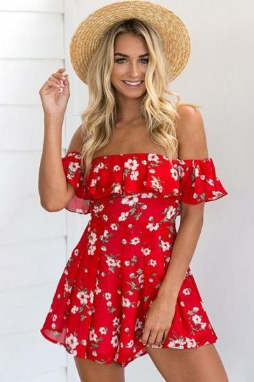Red Floral Print Ruffled Off-The-Shoulder Romper