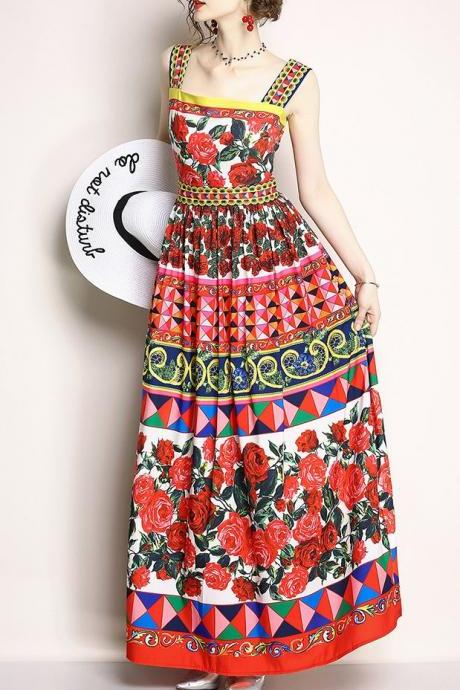 Fashion Strap Printing Drape Dress