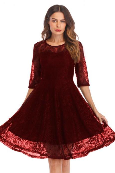 Fashion Lace Stitching Round neck half sleeved - Wine Red