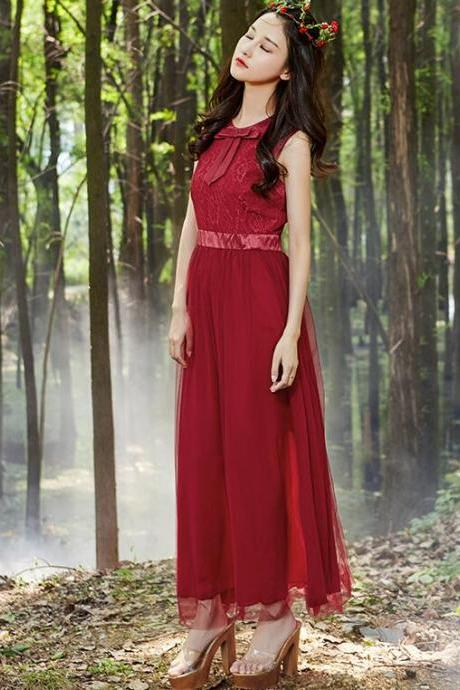 Nice Wine Red High Waist Lace Chiffon Maxi Dress
