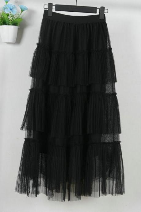 Fashion Cake Style Skirt for Summer - Black