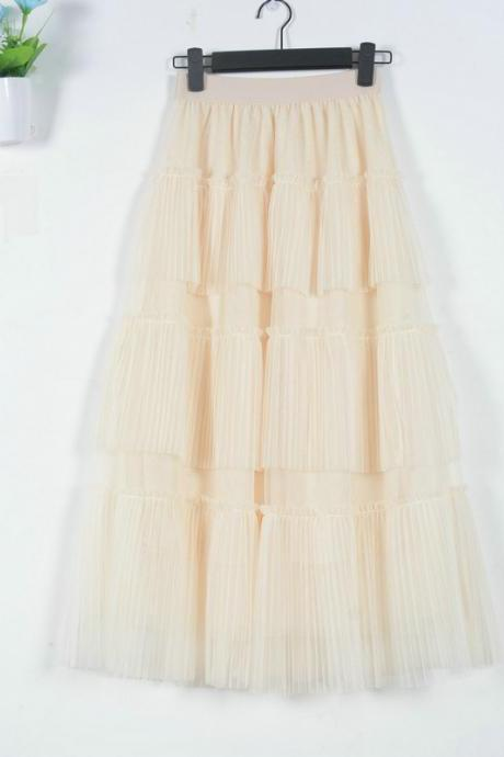 Fashion Cake Style Skirt for Summer - Beige