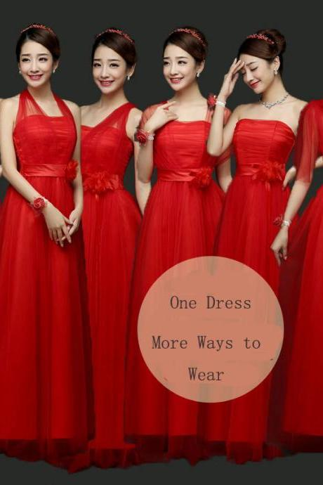 Fashion Convertible Women Long Evening Party Prom Bridesmaid Dress - Red